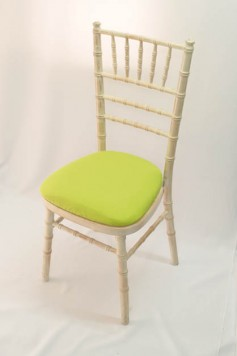 Chairman Hire Chivari Limewash Fresh Green Cotton Seat Front