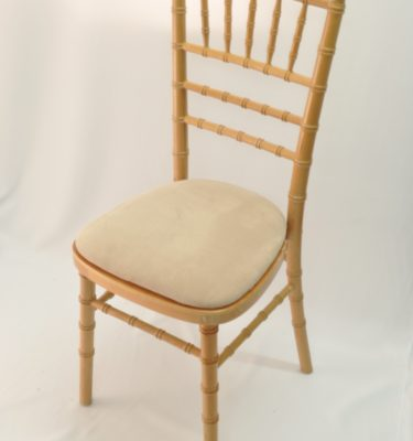 Chairman Hire Chivari Natural Wood Ivory Oyster Dralon Velour Seat Front