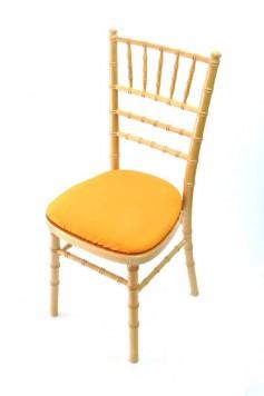 Chairman Hire Chivari Natural Wood Orange Cotton Seat Front