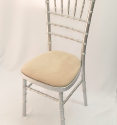 Chairman Hire Chivari Silver Ivory Oyster Dralon Seat Front