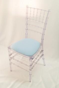 Chairman Hire Ice Chivari Sky Blue Baby Blue Cotton Seat Front