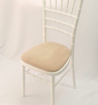 Chairman Hire Piano White Chivari Ivory Oyster Dralon Velour Seat Front