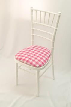 Chairman Hire Piano White Chivari Pink Gingham Cotton Seat Front