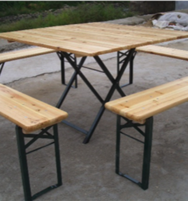 Chairman Hire Poplar Rustic 3'7'' Square Table and 4' Bench Set