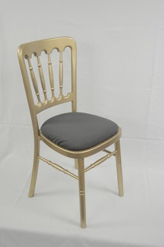 Gold Cheltenham Spindleback Chair Violet Dark Grey Cotton Seat