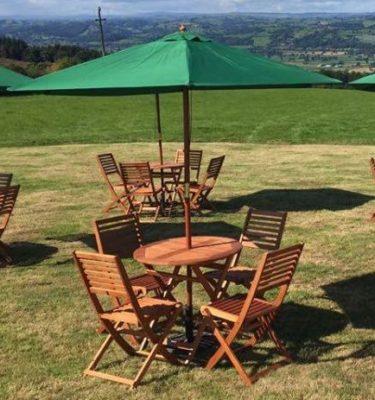 Outdoor garden wooden furniture with parasols copy