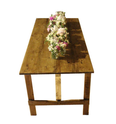 Rustic Table with Flowers PNG