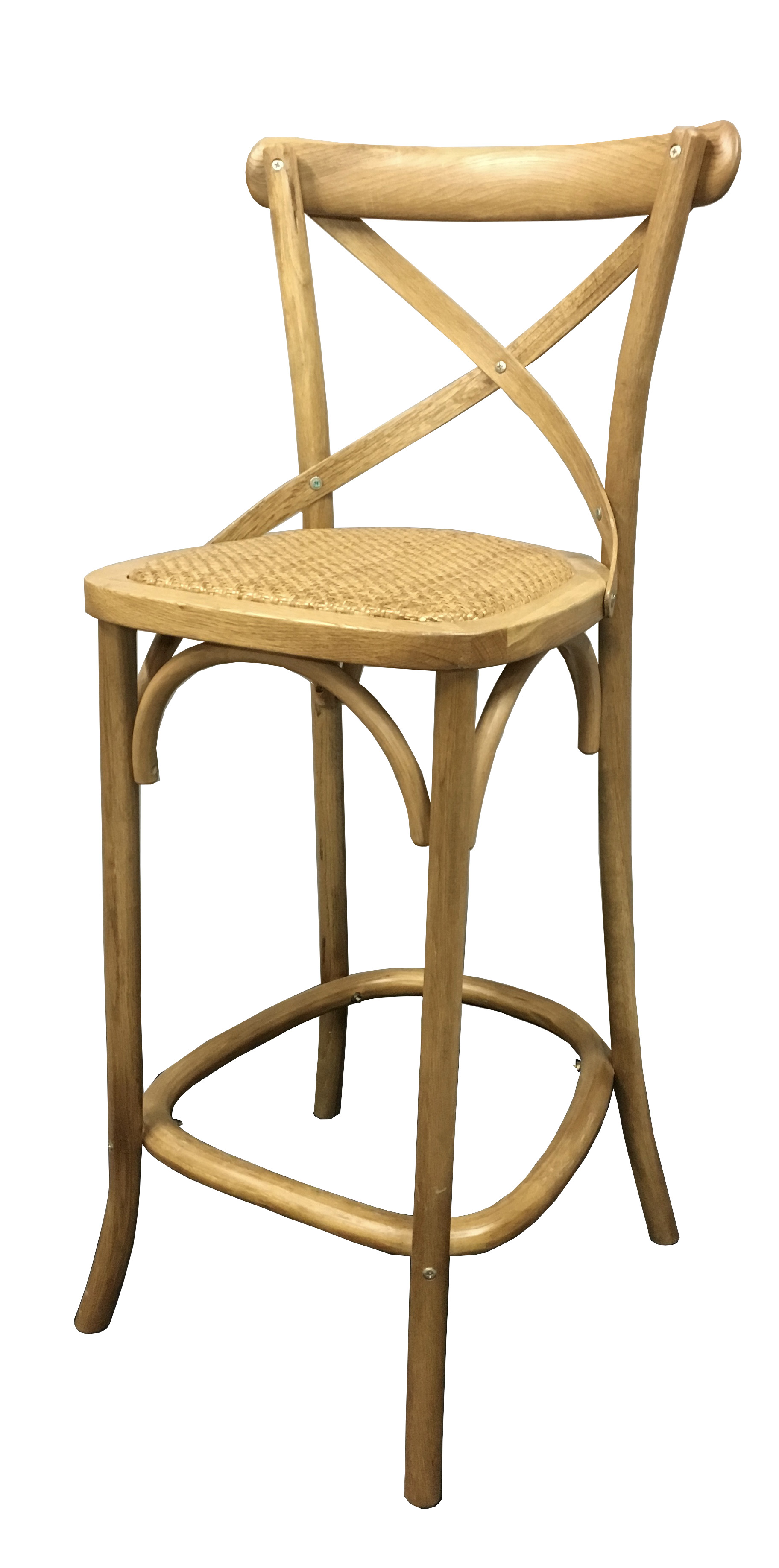 Solid oak cross back bar stool chairman hire