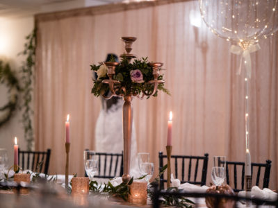 Black Chivari chairs with rose gold candles @ Sparth House