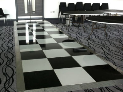 Chairman Hire Black and White Chequer Dance Floor @ Salford City Reds & Sale Sharks Stadium