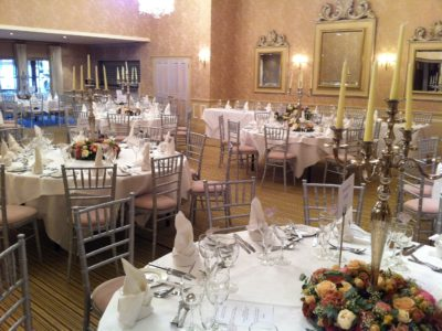 Chairman Hire Silver Chivari with Ivory Oyster on location Rowton Hall Hotel4