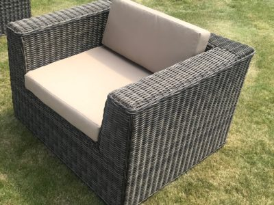 Coffee and Cream Outdoor Indoor Rattan Weave Chair