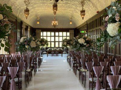 Dark wood Chivari & ivory draylon pad & dusky pink chair drape elegant stately