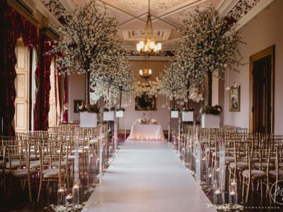 Gold Chivari chair Hire Wedding Civil ceremony at Haigh Hall