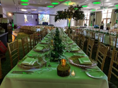Gold chivari chairs with lime green lighting and gold charger plates