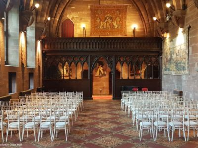 Limewash chivari chairs & ivory draylon Peckforton Hall