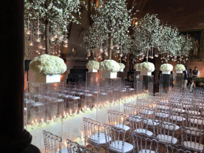 Napoleon Ice Ghost Chair Hire Civil ceremony Wedding chair Hire Peckforton Castle Cheshire