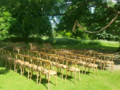 Natural Oak Cross Back Wedding Outdoor Ceremony