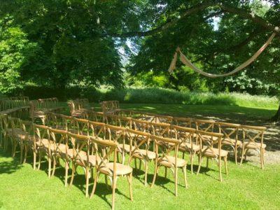 Natural Oak Cross Back Wedding Outdoor Ceremony copy