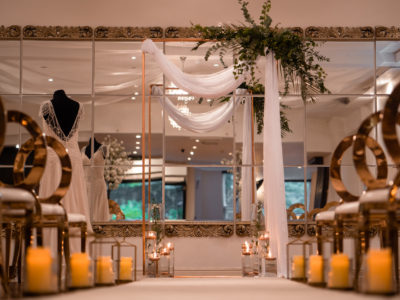 Rose Gold Halo chairs with gold candles @ Sparth House