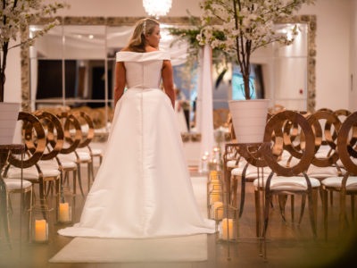Rose Gold Halo wedding chair with ivory faux leather pads @ Sparth House