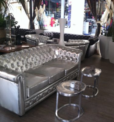 Silver Chesterfield sofa