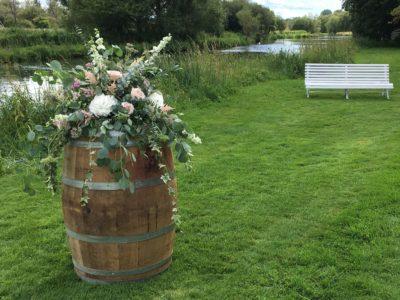 Vintage barrel with flowers wedding barrel wedding acessories