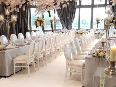White Louis wedding chair white and pink wedding theme