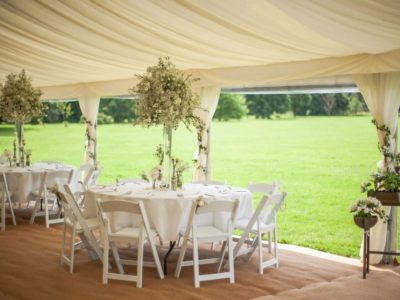 White Wooden Folding Chairs Summer Marquee Shot