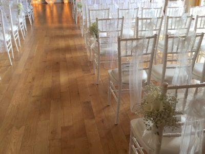White chivari wedding chairs wedding ceremony white chairs Skylark Country Club copy