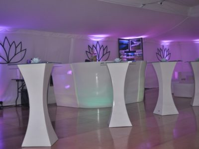White contemporary poseur tables with glass tops