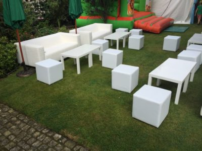 White sofas white cubes white coffee tables for events