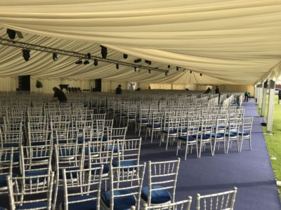 silver Chivari Conference style Chair Hire Marquee Speach Day Shrewsbury Shropshire