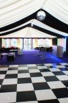 Black and white chequered dancefloor