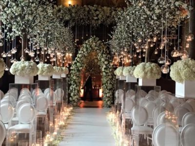 White Louis wedding chairs