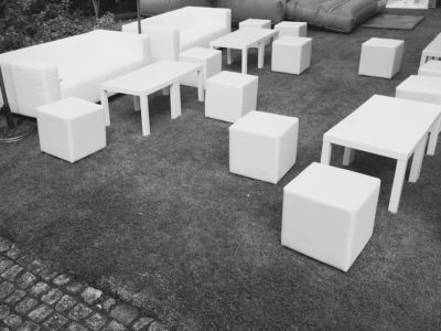 White cube seating sofas and coffee tables