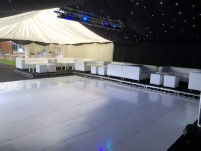 White dancefloor white sofa white cube seating