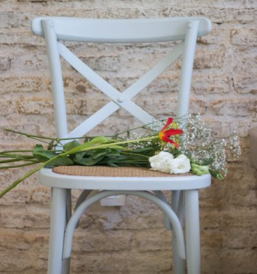 White cross back chair natural seat shabby chic white wedding chair